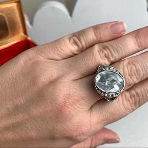 Monet Signed Vintage Silver Tone Statement Ring